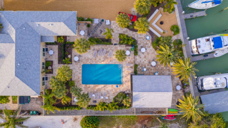 Escape Hotel and marina grounds -overhead view